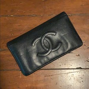 CHANEL Caviar Long Bifold Wallet